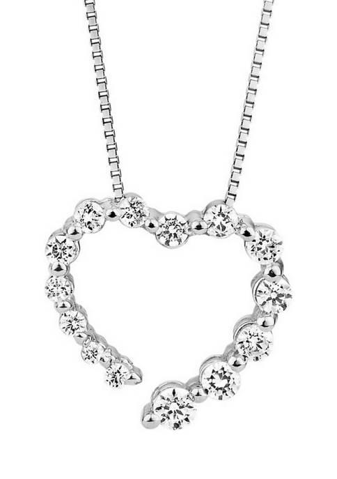 1/4 ct. t.w. Diamond Journey Heart Pendant in 10K White Gold