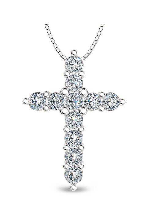 1/2 ct. t.w. Diamond Cross Pendant in Sterling Silver