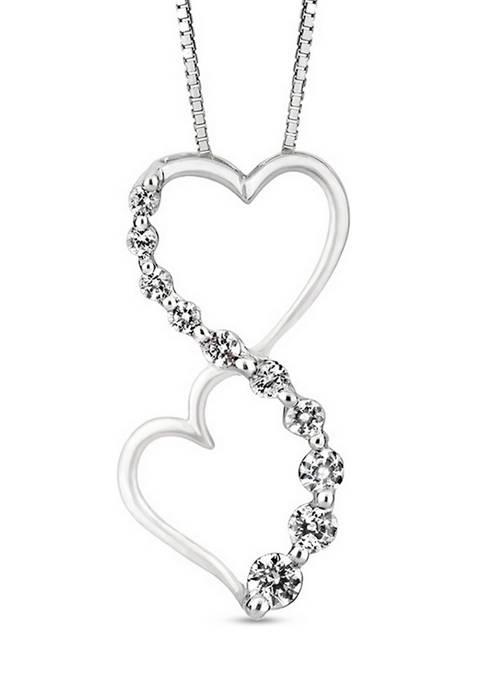 Diamour 1/4 ct. t.w. Journey Diamond Heart Pendant