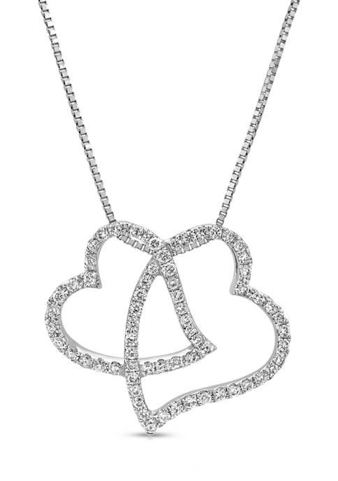 Diamour 1/4 ct. t.w. Round-cut Diamond Double Heart