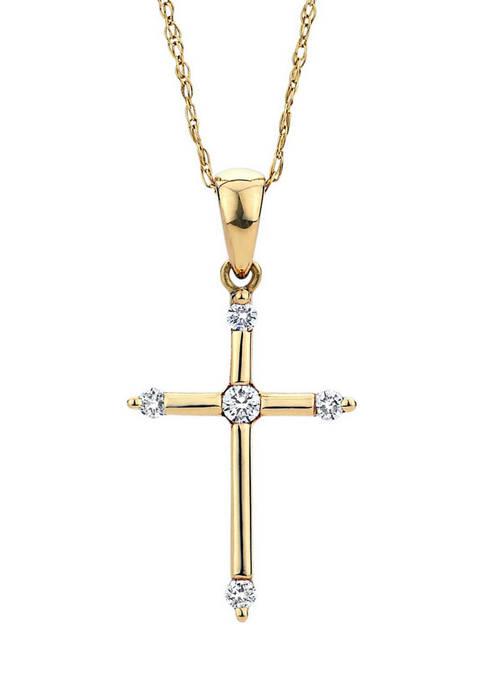 Diamour 1/10 ct. t.w. Diamond Cross Pendant in
