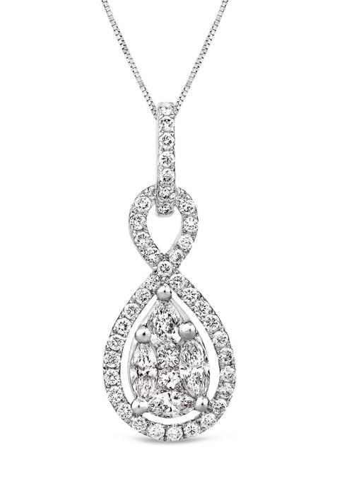 3/4 ct. t.w. Diamond Infinity Drop Pendant in 14K White Gold