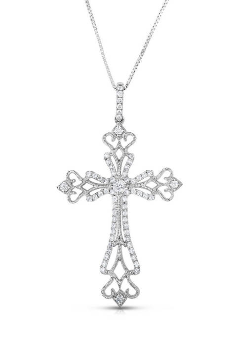Diamour 3/8 ct. t.w. Diamond Ornate Cross Pendant