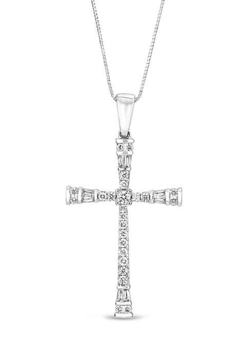 Diamour 3/8 ct. t.w. Round/Baguette Diamond Cross Pendant