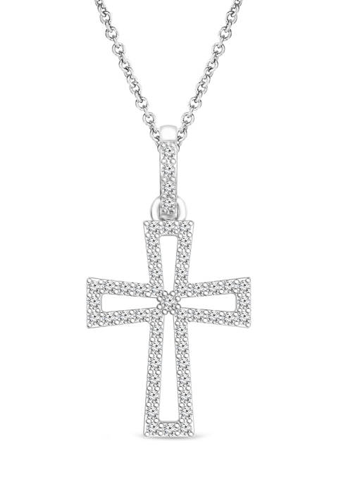 Diamour 1/8 ct. t.w. Diamond Cross Pendant in