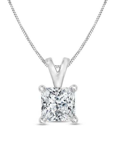 Diamour 1/3 ct. Certified Princess-Cut Diamond Solitaire Pendant