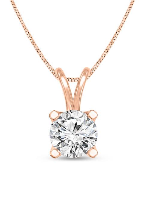 Diamour 1/3 ct. t.w. Certified Diamond Solitaire Pendant