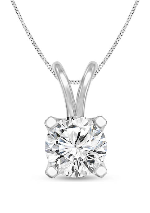 1 ct. t.w. Certified Diamond Solitaire Pendant in 14K White Gold (I/VS2)