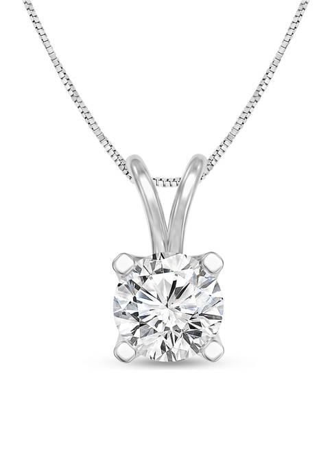 1/3 ct. t.w. Certified Diamond Solitaire Pendant in 14K White Gold (I/SI2)