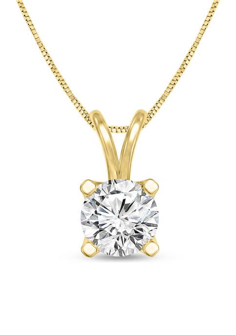 Diamour 1/4 ct. t.w. Certified Diamond Solitaire Pendant