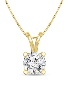 Diamour Women 1 3 Ct. T.W. Certified Diamond Solitaire Pendant In 14K Yellow Gold I Si2