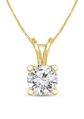 Diamour Women 1 2 Ct. T.W. Certified Diamond Solitaire Pendant In 14K Yellow Gold I Si2