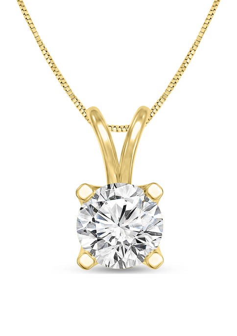 3/4 ct. t.w. Certified Diamond Solitaire Pendant in 14K Yellow Gold (I/SI2)