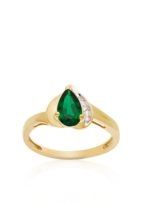 Belk & Co. 10k Yellow Gold Created Emerald