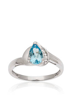 Belk & Co. 10k White Gold Blue and White Topaz Ring <br>