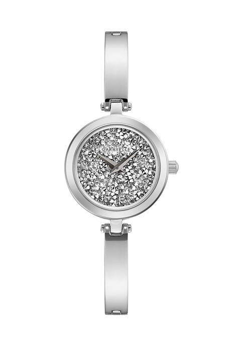 Caravelle by Bulova Modern Stainless Steel Bangle Watch