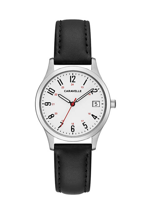 Caravelle by Bulova Traditional Leather Strap Watch