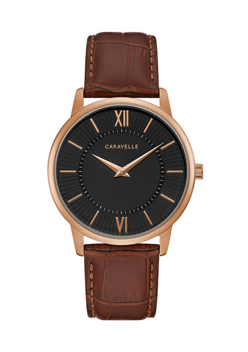 Caravelle by Bulova Mens Dress Leather Strap Watch