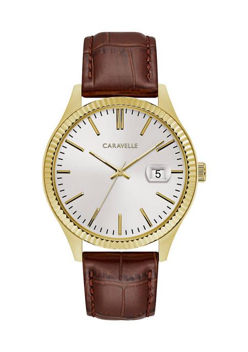 Caravelle by Bulova Dress Leather Strap Watch