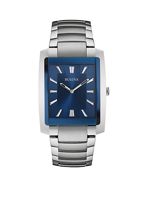 Bulova Mens Blue Dial Stainless Steel Watch
