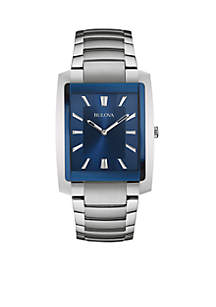 Men's Blue Dial Stainless Steel Watch