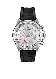 Men's Stainless Steel Chronograph Silicone Strap Watch
