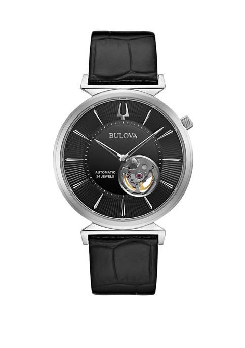 Mens Automatic Regatta Black Leather Strap Watch