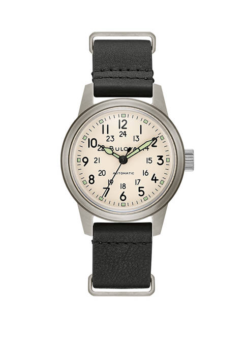 Bulova Mens Military Hack Stainless Steel Watch with