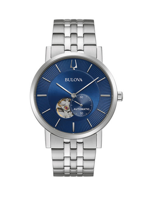 Bulova Mens Automatic Clip Stainless Steel Watch with