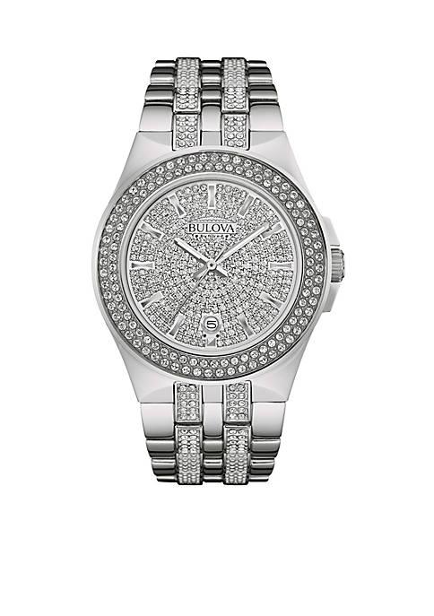 Bulova Mens Silver-Tone Crystal Watch