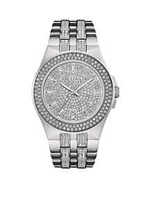 Men's Silver-Tone Crystal Watch