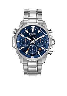 Bulova Mens Marine Star Silver-Tone Blue Dial Watch