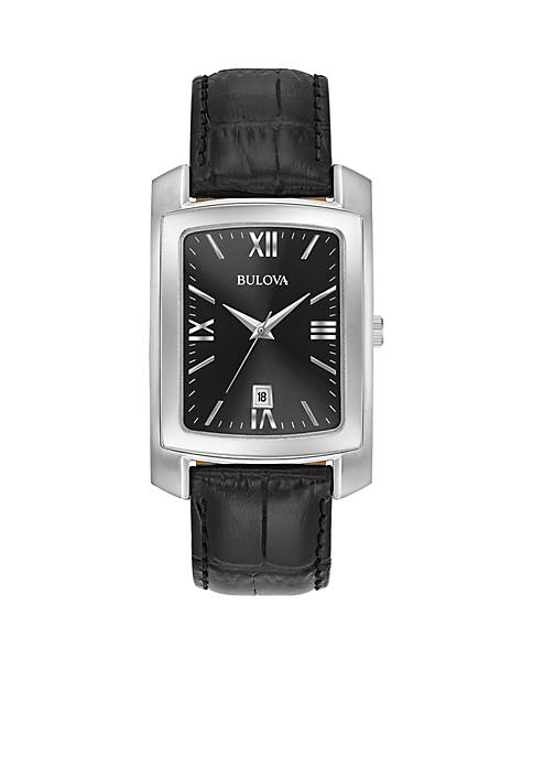 Bulova Mens Crocodile Leather Watch