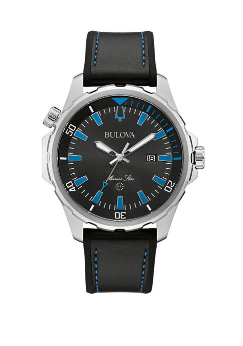 Bulova Mens Marine Star Stainless Steel Watch with