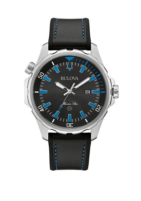 Bulova Mens Marine Star Stainless Steel Watch with