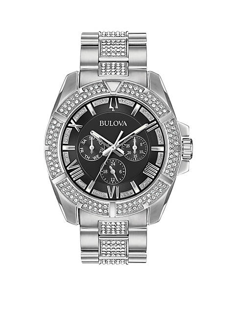 Bulova Mens Stainless Steel Embellished Watch