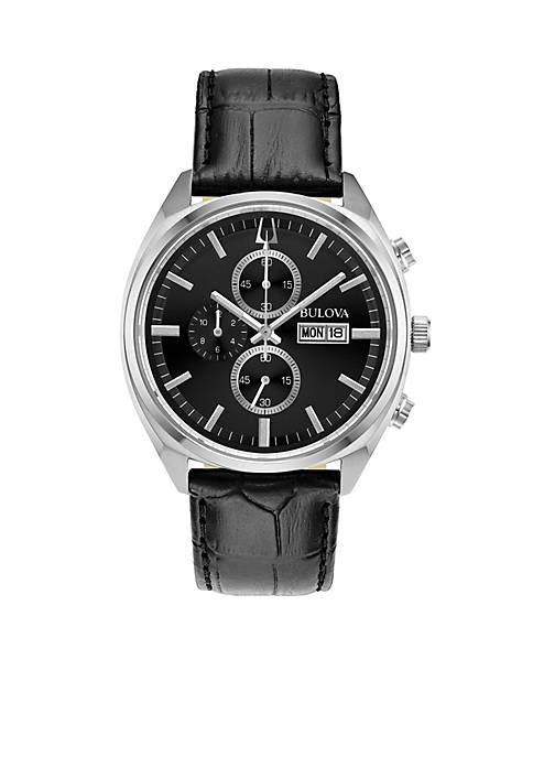 Bulova Mens Stainless Steel Chronograph Classic Surveyor Leather