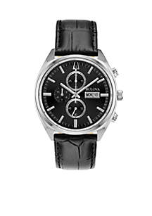 Men's Stainless Steel Chronograph Classic Surveyor Leather Strap Watch 42mm