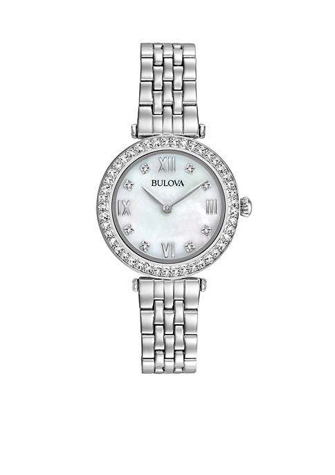 Bulova Womens Stainless Steel Crystal Bracelet Watch