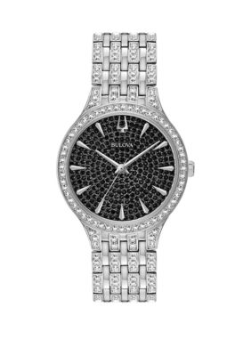 Bulova Women Silver Tone Stainless Steel Phantom Swarovski Crystal Bracelet Watch - Silver