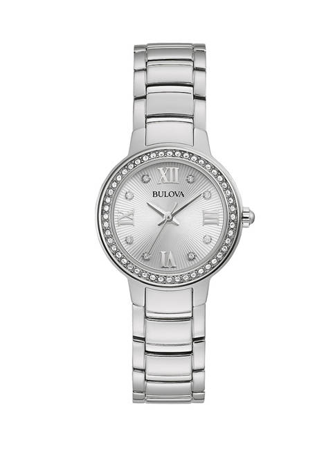 Bulova Womens Crystal Stainless Steel Silver Dial Watch