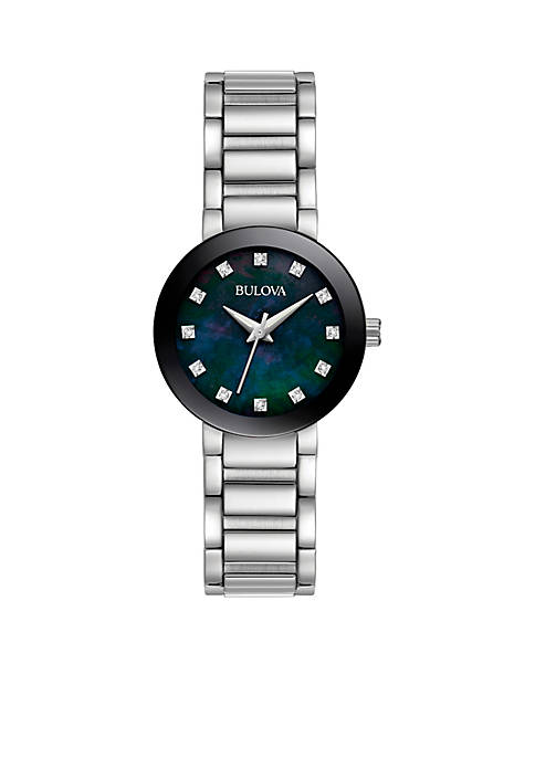 Bulova Womens Stainless Steel Crystal Watch
