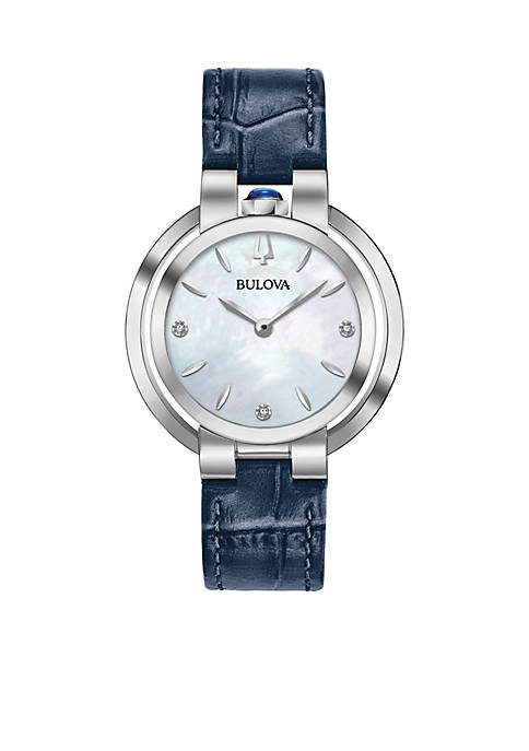 Bulova Womens Stainless Steel Rubayiat Mop Dial Leather