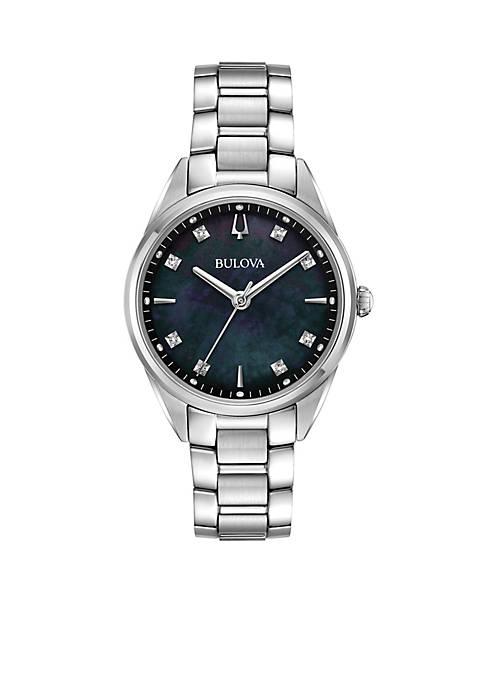 Bulova Womens Stainless Steel Sutton Diamond-Accent Bracelet