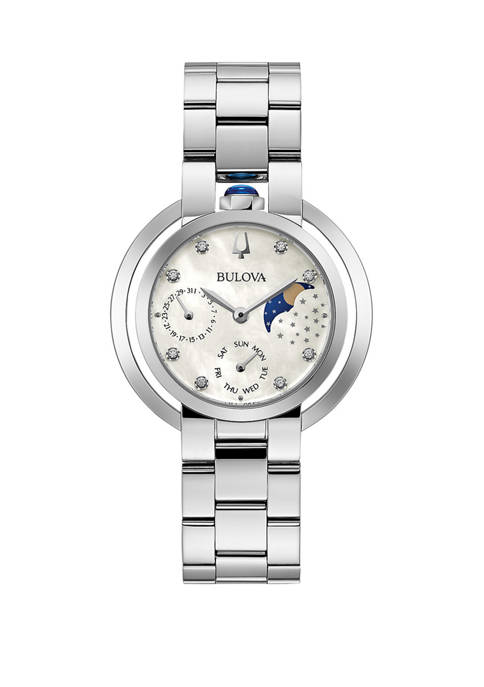 Womens Moon Phase Diamond Dial Watch