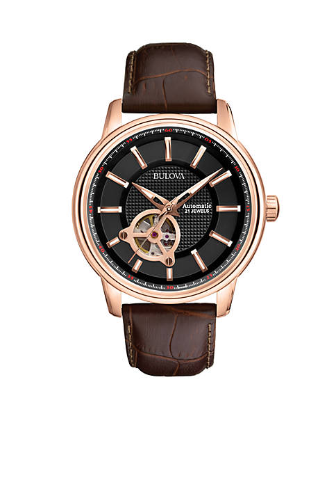 Bulova Mens Automatic-Black Dial with Rose Gold-Tone Case