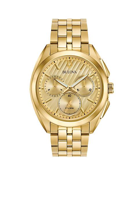 Bulova Mens Gold-Tone Curv Chronograph Watch