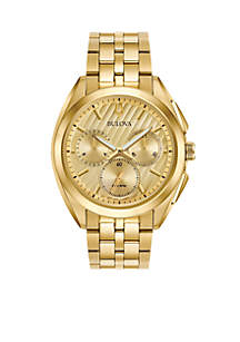 Men's Gold-Tone Curv Chronograph Watch