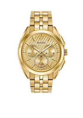 a46056c9ae8f Bulova Men s Gold-Tone Curv Chronograph Watch ...