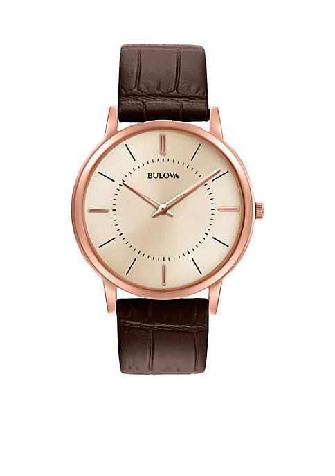 Bulova Mens Brown and Rose Gold-Tone Watch